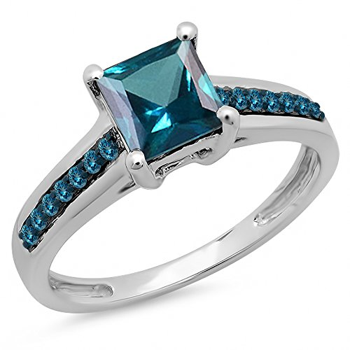 Dazzlingrock Collection 1.60 Carat (ctw) 14K Princess & Round London Blue Topaz Bridal Engagement Ring, White Gold, Size 7 ()
