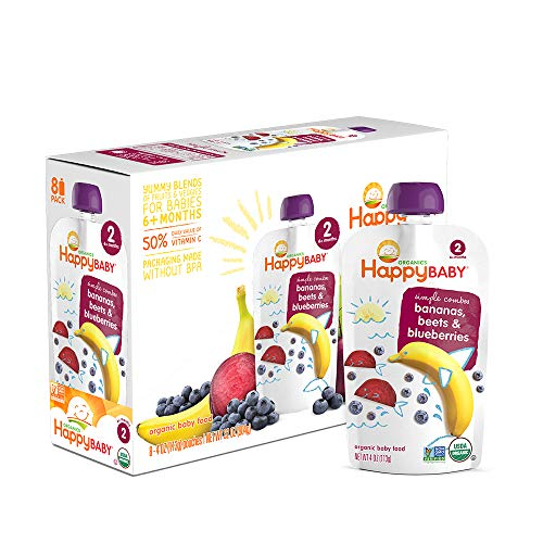 Happy Family happy baby stage 2 Simple Combos – Bananas Beets & Blueberries, 4 Ounce (Pack of 8)