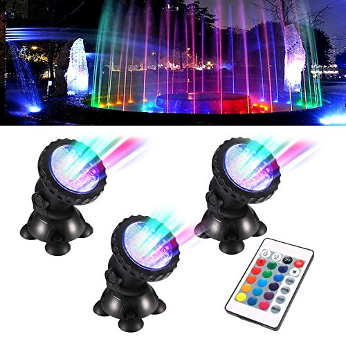 Remote Pond - TOPBRY Remote Control Submersible Spotlight Pond lights 36 LED Colorful IP68 Waterproof Aquarium Spotlight Multi-color Decoration Landscape lamp for Fountain Fish Pond Tank Water Garden (Set of 3)