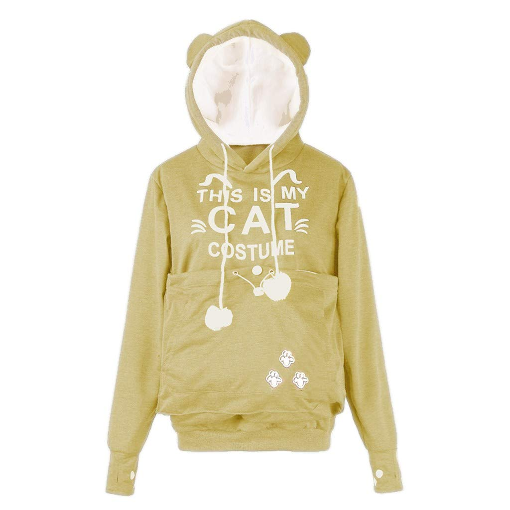 Women Hoodie Drawstring Sweatshirt,Ladies CAT Letter Printed Plus Size Thicker Velvet Blouse (M, Khaki) by Woaills-Dress