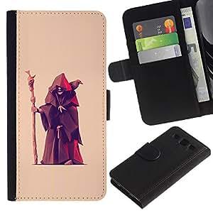 Billetera de Cuero Caso del tirón Titular de la tarjeta Carcasa Funda del zurriago para Samsung Galaxy S3 III I9300 / Business Style Fortune Teller Witch Old Man Crow