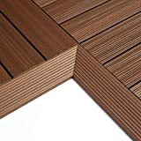 NewTechWood QD-IF-IP QuickDeck Composite Deck Tile Inside Corner Trim, 2-Inch x 1-Feet, Brazilian Ipe, 2-Piece