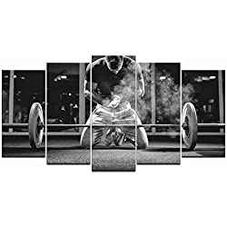 LevvArts - 5 Piece Black and White Canvas Wall Art Weightlifting Pictures Sportsman Muscular Weightlifter Paintings on Canvas Framed and Stretched for Gym Decorations Home Decor Ready to Hang