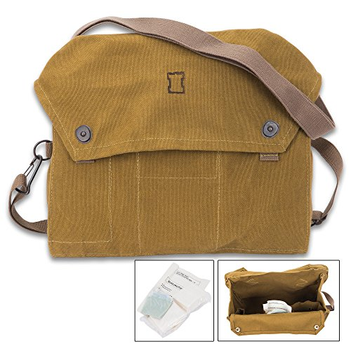 """K EXCLUSIVE Finnish Military Issue Gas Mask Bag """" Used """" Olive Drab Heavy-Weight Canvas, Cotton Webbing Strap, Metal (Surplus Olive Drab)"""