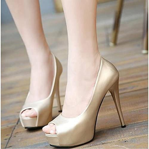 ZHZNVX Womens Shoes PU Spring Summer Basic Pump Comfort Sandals Stiletto Heel for Casual Gold Black Silver