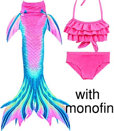 Mermaid Tails for Swimming Kids Girls Swimsuits Support Monofin Mermaid Costumes (Child 110/3-4 Years, 4-Pink Mermaid Princess+Monofin) ()