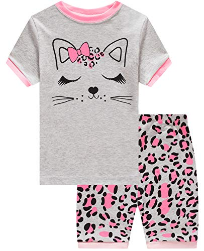 (Girls Pajamas 100% Cotton Girls Cat Toddler Pjs Summer Short Set Toddler Clothes Kids Sleepwear Size 7)