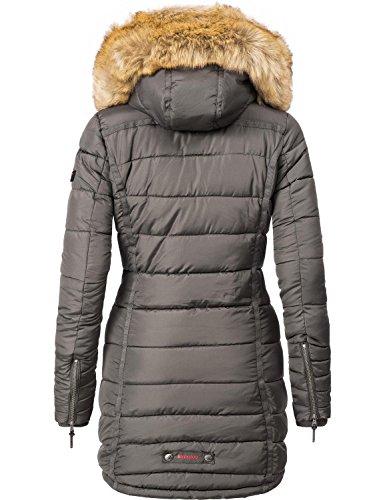 Antracite con in pelliccia sintetica cappuccio XS Grigio Cappotto trapuntato Papaya Navahoo invernale donna da a6g6qp