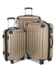 HAUPTSTADTKOFFER Alex Double Wheel Luggage Set 18 different colors Suitcase Set Size (20'24'28') Trolley TSA Champagne