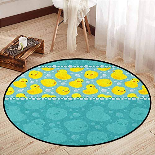 - Area Round Rugs,Rubber Duck,Yellow Cartoon Duckies Swimming in Water Pattern with Fun Bubbles Aqua Colors,Children Bedroom Rugs,2'3