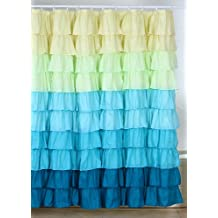 Lavish Home Spring Ruffle Shower Curtain with Buttonhole