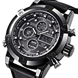 Men's Quartz Wrist Watch, Dual Core Chronograph Date Setting Hourly Chime Multi-Function Stylish Design Analog Digital Display Business Sports Casual Comfortable Watches -Black Face Leather Band, US