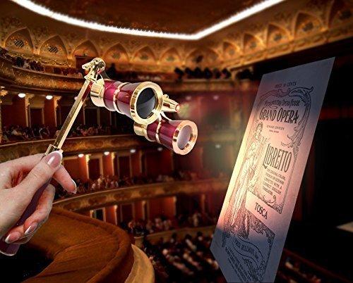 Binoculares de Teatro 3 x 25 de color borgo/ña con adorno dorado con mango extensible HQRP Prism/áticos de /óopera