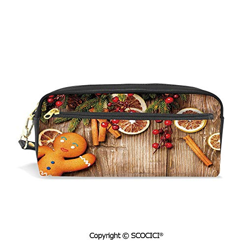 Printed Pencil Case Large Capacity Pen Bag Makeup Bag Rustic Composition with Holly Berry Orange Slice Cinnamon and Biscuit Decorative for School Office Work College Travel
