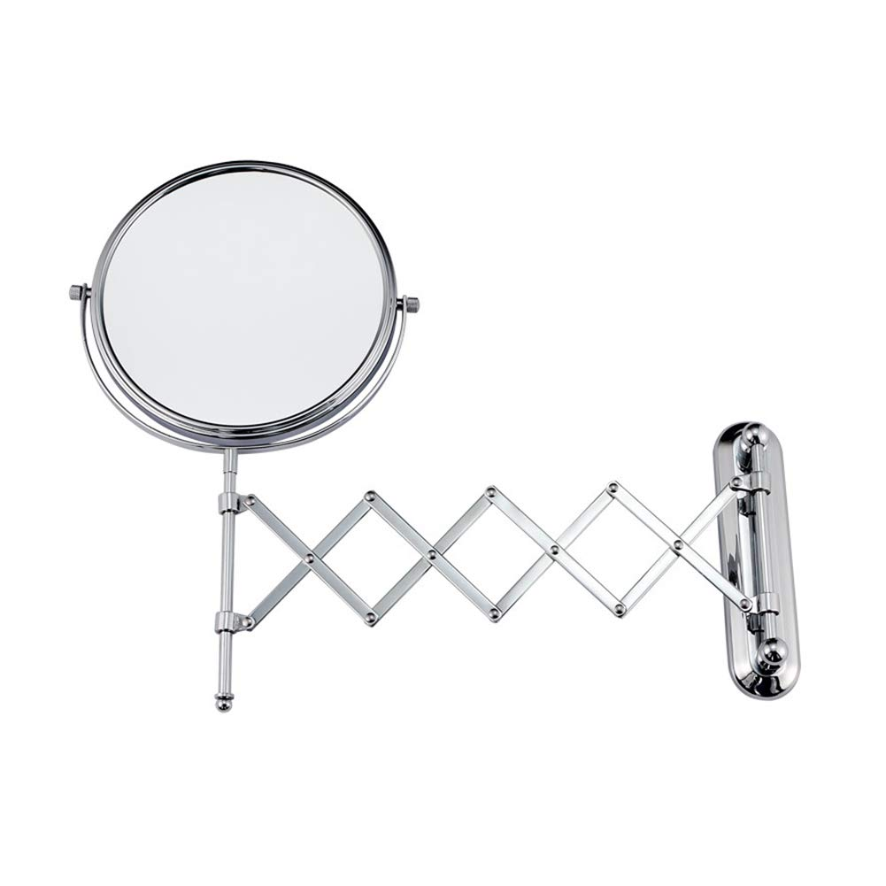 Hotel Folding Wall-mounted Double-sided Telescopic Magnifying Vanity Mirror Bathroom Beauty Mirror Princess Mirror 6 8 Inches (Size : 6 inches)