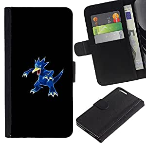 LECELL--Cuero de la tarjeta la carpeta del tirón Smartphone Slots Protección Holder For Apple Iphone 6 PLUS 5.5 -- Golduck P0kemon --
