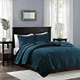 Madison Park Harper Velvet King/Cal King Size Quilt Bedding Set - Teal, Geometric – 3 Piece Bedding Quilt Coverlets – Velvet with 90% Cotton Filling Bed Quilts Quilted Coverlet
