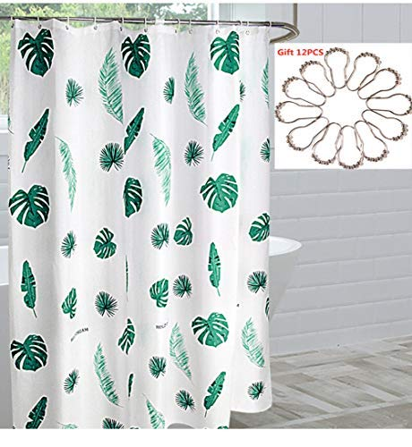 Shower Curtain Set Extra Long Shower Curtain 70 W x 72 H Fabric Shower Curtain Printed Plaid Geometric Bath Curtain Polyester Fabric Shower Curtains Liner with Stainless Steel 12 Hooks