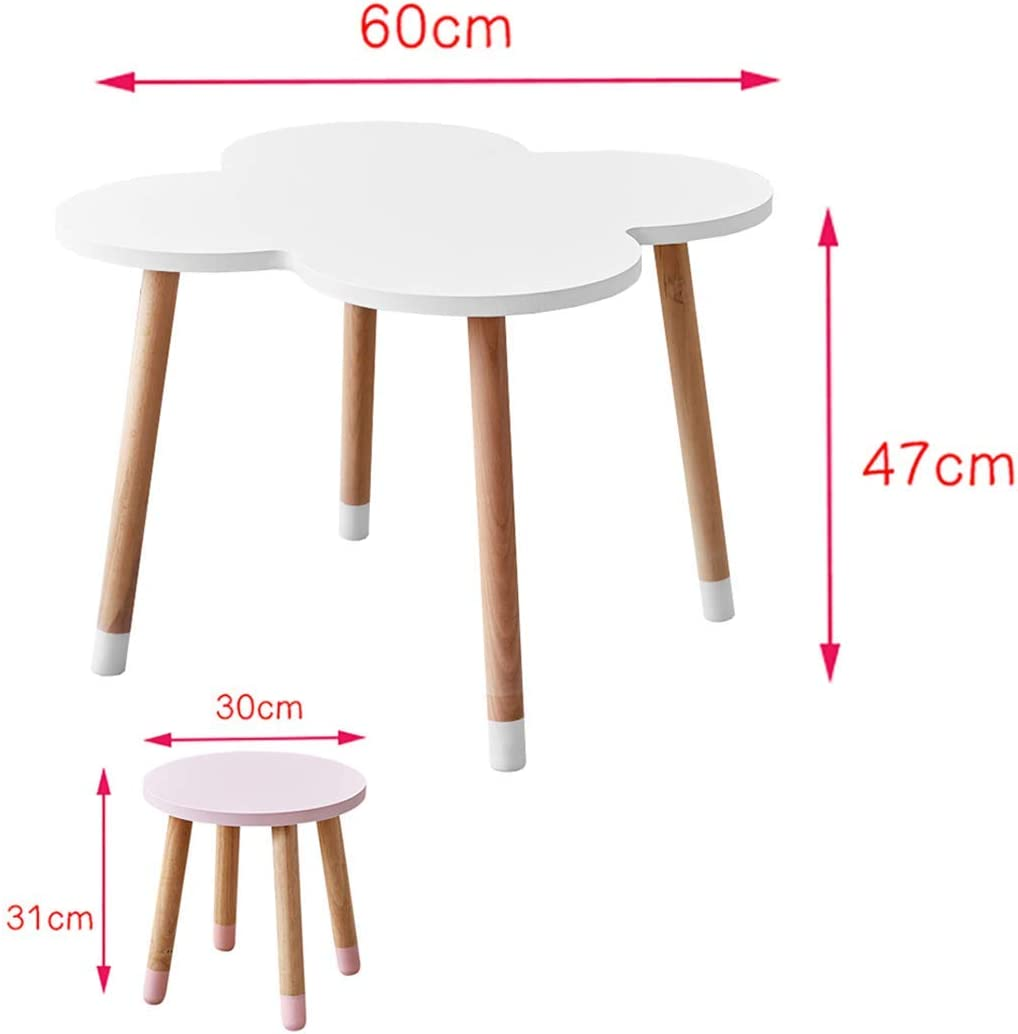 NMDD Deluxe Hardwood Four-Leaf Clover Activity Play Table For Kids, Solid Wood Childrens Table For Playroom/Daycare/Preschool, Sturdy And Safe Materials White Clover Table