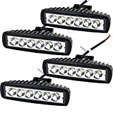"Willpower 4Pcs 6"" inch 18W LED Work Light Bar Spot Beam Offroads Off-road Lamp Light Waterproof 1440 Lumen for ATV Jeep Wrangler Trailer Fishing Boat Truck"