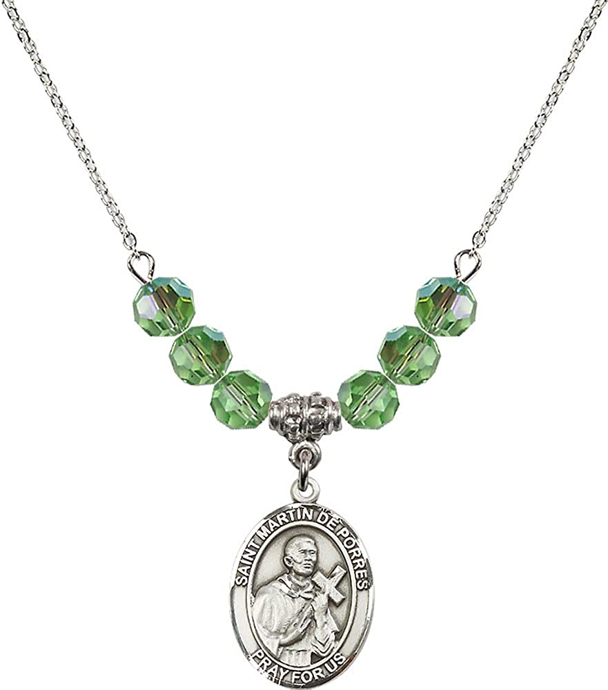 18-Inch Rhodium Plated Necklace with 6mm Peridot Birthstone Beads and Sterling Silver Saint Martin de Porres Charm.