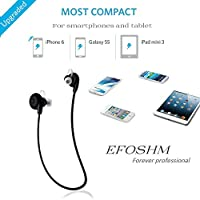 EFO-S BT-H108 Bluetooth 4.0 Wireless Sport Headphones Sweatproof Running Gym Exercise Bluetooth Stereo Earbuds Earphones Car Hands-free Calling Headsets with Microphone and High-fidelity Stereo Sound for iPhone 6 6 plus 5S 4S Galaxy S6 S5 and iOS android