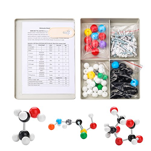 Set 125 Pieces Organic Chemistry Molecular Model with 54 Atoms & 70 Links & 1 Short Link Remover for Students, Teacher