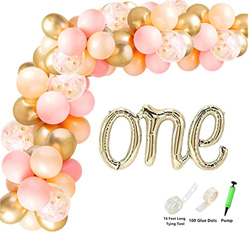 Rose&Wood 100 PCS Balloon Garland Kit with Giant Foil Balloon-One Hand-Writing Style Balloon Arch Garland for Birthday Party Photo Shoots,One
