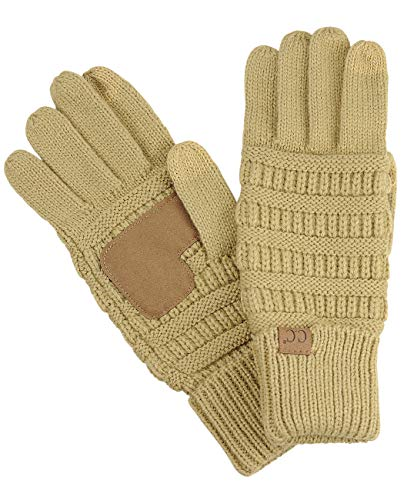 Unisex Camel - C.C Unisex Cable Knit Winter Warm Anti-Slip Touchscreen Texting Gloves, Camel