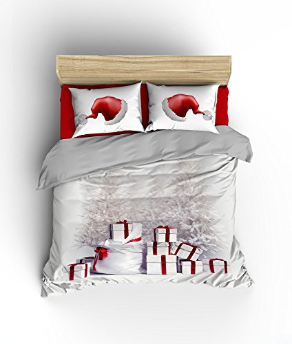LaModaHome Christmas Duvet Cover Set, 100% Cotton, Santa Brings a lot of Gifts, Red Santa Hat, New Year - Set of 3 - Duvet Cover and 2 Pillowcases for King Size Bed