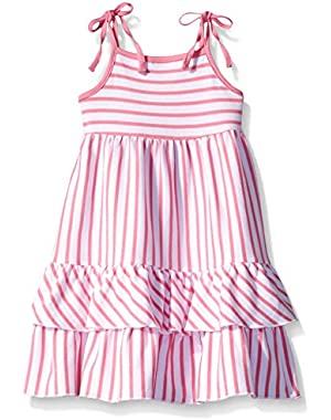 Girls' Hot Pink Breton Stripe Tiered Sleeveless Dress