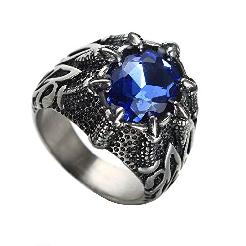 HIJONES Mens Stainless Steel Vintage Gothic Biker Black Plated Dragon Claw Big Sapphire Stone Rings Inlay Blue Size 10