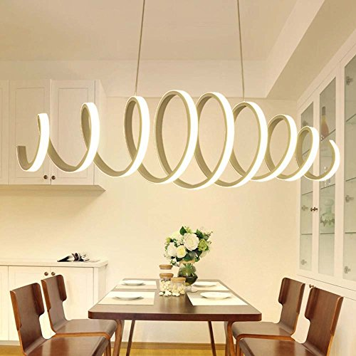 HOMEE Ceiling Chandelier-Post - Modern Simple Led Creative Long Strip Iron Chandelier Dining Room Bedroom Living Room Study Chandelier (Light Color Optional) --Interior Lighting Chandeliers,Warm-Ligh by HOMEE