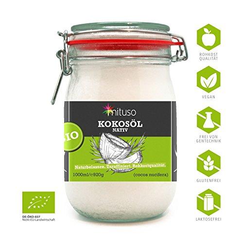 mituso Bio Kokosöl nativ 1er Pack 1 x 1000 ml im Bügelglas