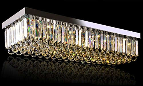 Cheap Siljoy Rectangular Crystal Chandelier Lighting Comtemporary Ceiling Lights L39.4″ x W11.8″ x H8.3″