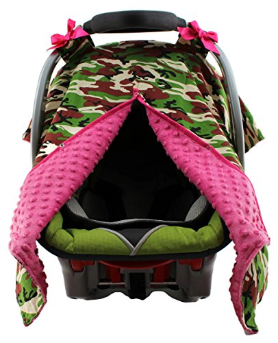 Dear Baby Gear Carseat Canopy, Camouflage Pink Bows, Hot Pink Minky