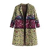 HHei_K Women Winter Warm Vintage Floral Print Long Pocket Jackets Outwear Long Sleeve Button Coat
