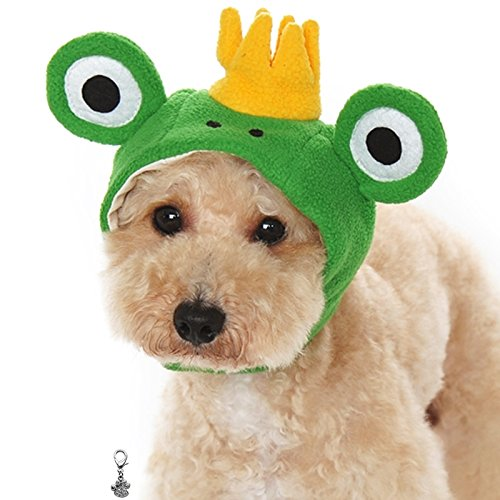 Plush Faux Fur Character Themed Hats with Charm for Dogs - Asssorted Characters - Sizes XS Thru XL (Frog Prince, X-Large)