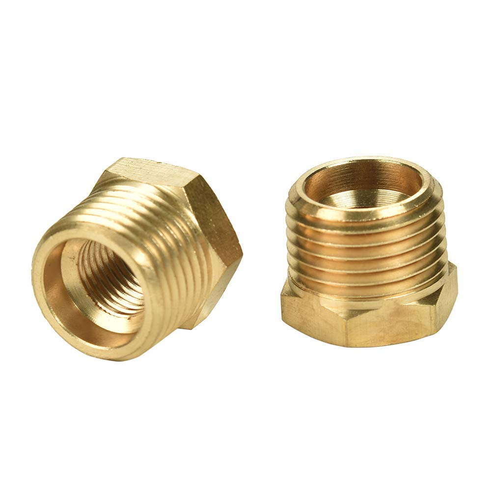 2 Pack 1/2 Inch NPT Male to 1/4 Inch NPT Female Reducer Brass Pipe Hose Tube Fitting Reducing Hex Head Bushing Adapter Convert