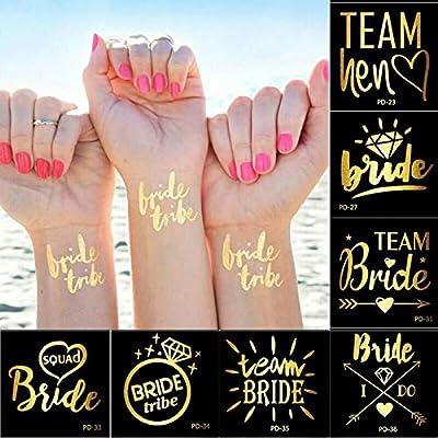 tzxdbh 1pc Gold Flash Team Bride Flamingo/Piña Tatuaje Temporal ...