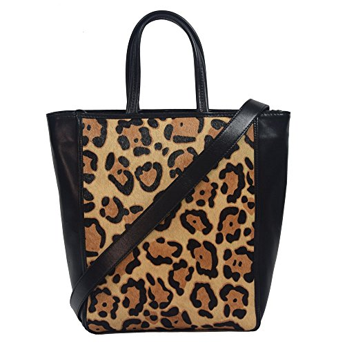 'arlette' Designer Black Leopard Pony Fur Tote Handbag By Christopher Kon Ck-5397