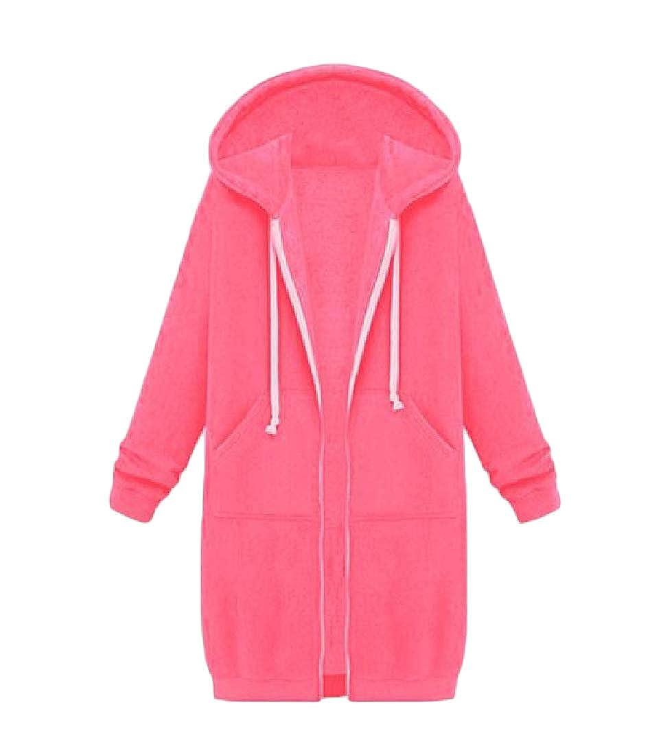YUNY Womens Jacket Long-Sleeve Zip Up Hoode Mid Long Oversized Outwear 3XL
