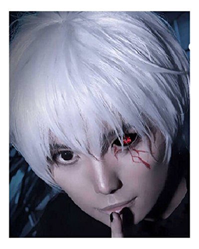 Ken Kaneki Costume (Kadiya Anime Silver White Cosplay Wig Synthetic Party Hair For Boy Teens)