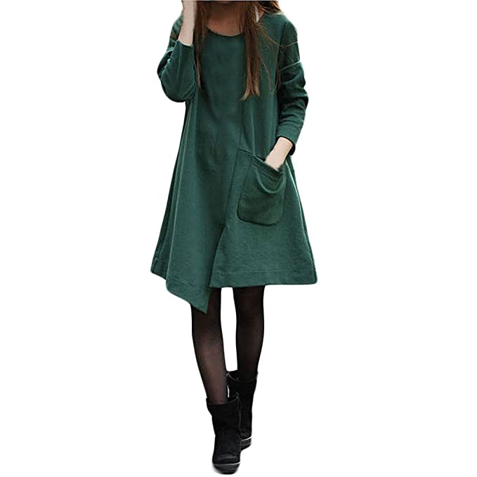 DOGZI Mujer Vestidos Algodón Bolsillo Grande Irregular Manga Larga Verde Vestido Color sólido Suelto Vestido Largo
