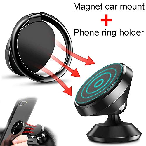 Cell Phone Ring Holder + 360°Rotation Metal Magnet car Phone Mount for Hand Finger Grip Kickstand Magnetic Phone car Mount for iPhone Xs Max XR X 8 7 6 Plus Samsung S10 S9