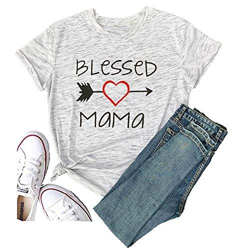 Hellopopgo Soft Women's Summer Blessed Mama Letters T Shirt Short Sleeve Tops Tee Wedding Sport (Medium, White)