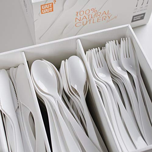 Disposable Biodegradable & Compostable Utensils - Feels Like real Silverware | 320pcs Forks Spoons Knives Eco Friendly Cutlery set made from Cornstarch - Perfect alternative to plastic bamboo & wood