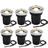 Landscape Lights Sunriver 6Pack LED Well Lights 1W 12V-24V Ground Lights IP67 Waterproof Low Voltage Landscape Lighting Spotlight for Driveway, Deck, Step, Garden Lights Outdoor (Warm White)