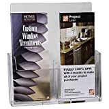 Clear-Ad - LHW-M131 - Acrylic Wall Mount Trifold 2-Tier Brochure Holder 4x9 - Two Pockets Pamphlet Display in Bulk (Pack of 48)