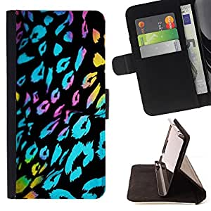 BullDog Case - FOR/LG Nexus 5 D820 D821 / - / ultraviolet fur leopard pattern black blue /- Monedero de cuero de la PU Llevar cubierta de la caja con el ID Credit Card Slots Flip funda de cuer